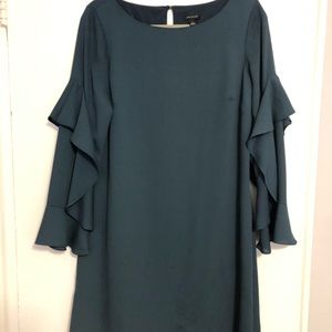 Teal Shift Dress with Ruffled Sleeves